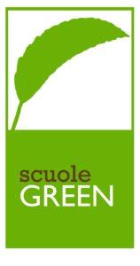 Foglia verde su sfondo bianco -Logo delle scuole green